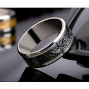 Men's Celtic Silvertone & Black Band Ring Size 13